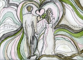 An illustration inspired by a beautiful love, marriage and a new baby.